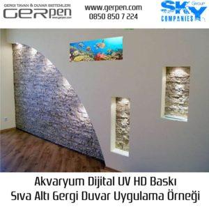 Gergi Duvar Akvaryum 35x100cm Uygulaması