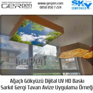 Gergi Tavan Avize Ağaçlı Gökyüzü 100x100cm Sarkıt Uygulaması