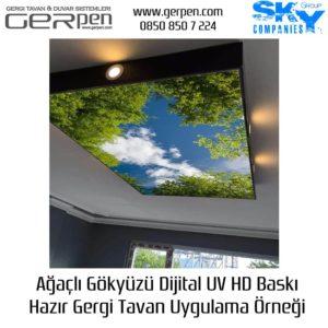 Hazır Gergi Tavan Ağaçlı Gökyüzü 75x100cm Uygulaması