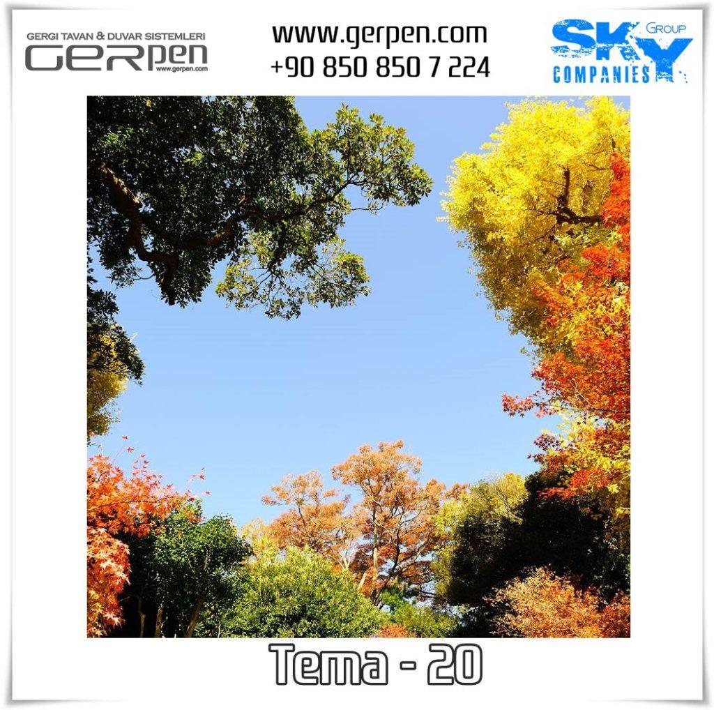Gergi Tavan Ağaçlı Gökyüzü Tema 20