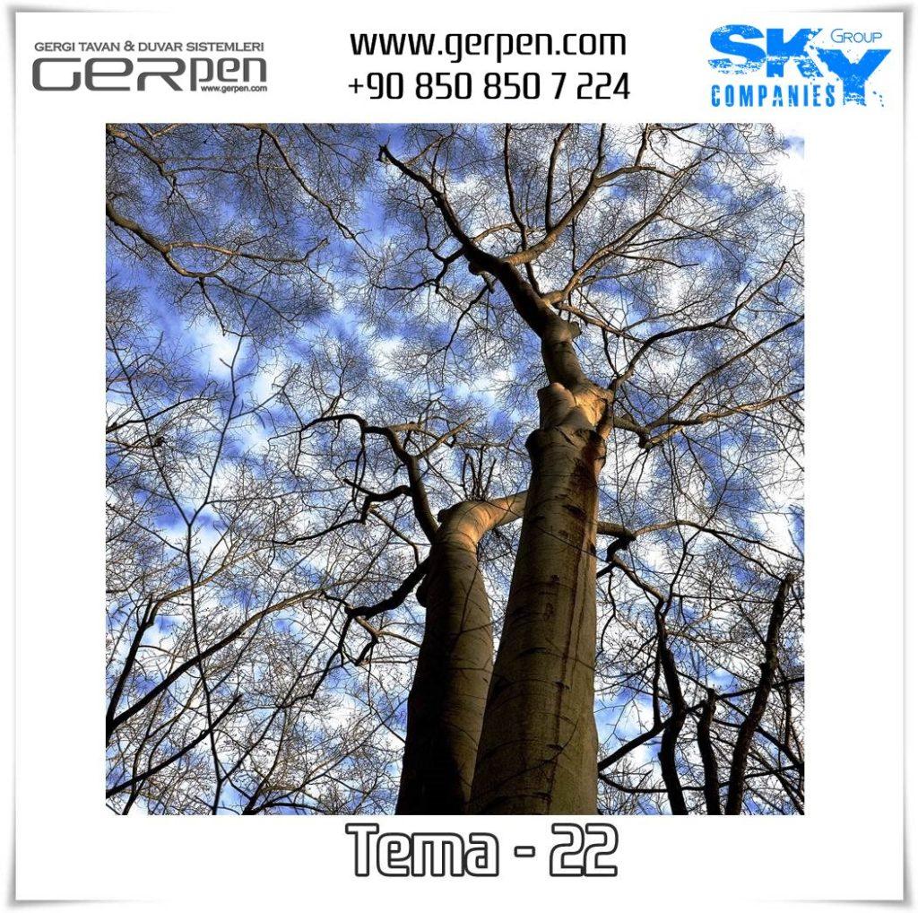 Gergi Tavan Ağaçlı Gökyüzü Tema 22
