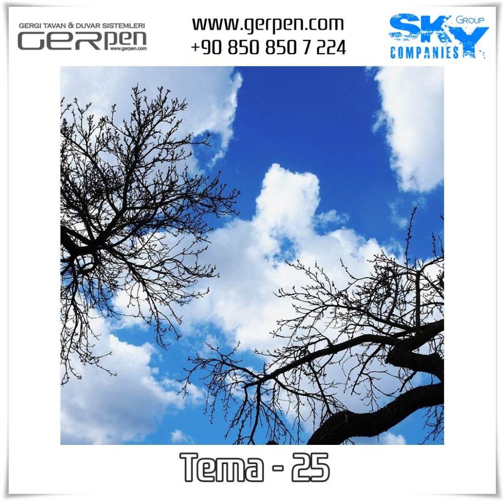 Gergi Tavan Ağaçlı Gökyüzü Tema 25