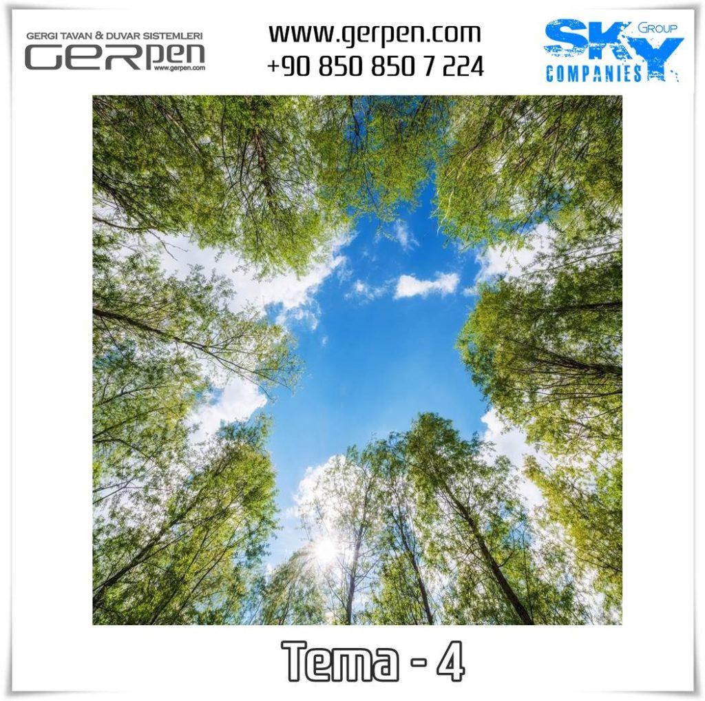 Gergi Tavan Ağaçlı Gökyüzü Tema 4