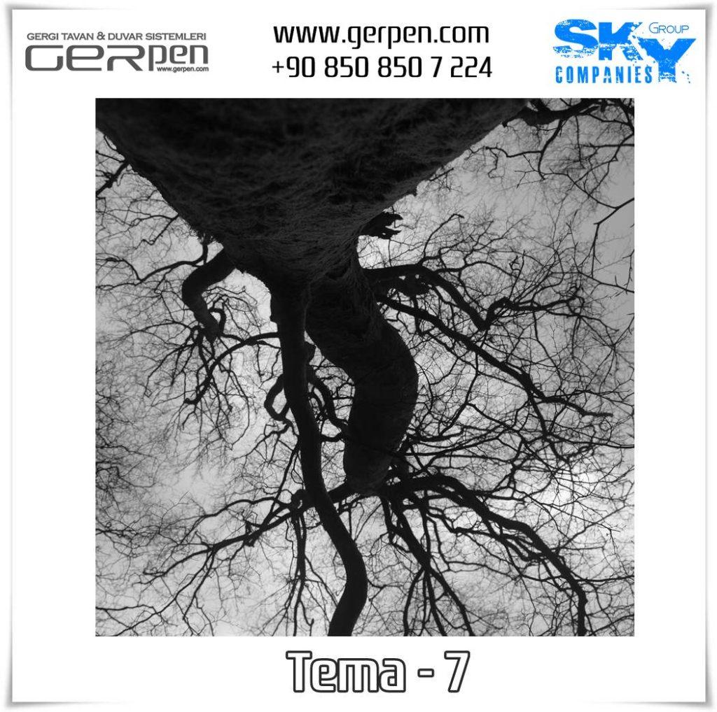 Gergi Tavan Ağaçlı Gökyüzü Tema 7