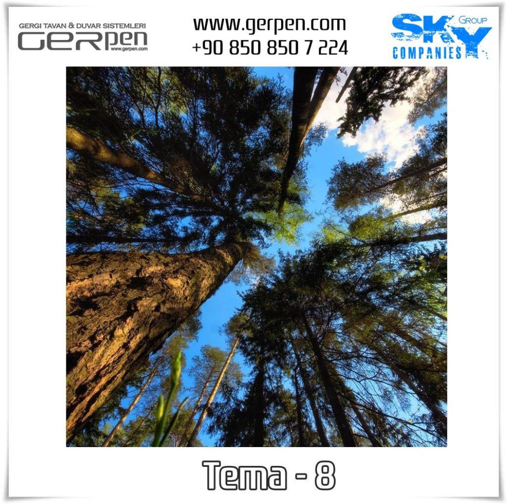 Gergi Tavan Ağaçlı Gökyüzü Tema 8