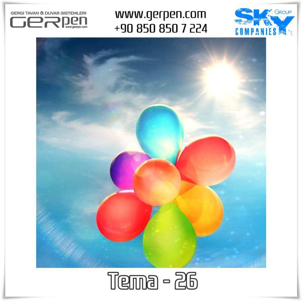 Gergi Tavan Balonlu Gökyüzü Tema 26