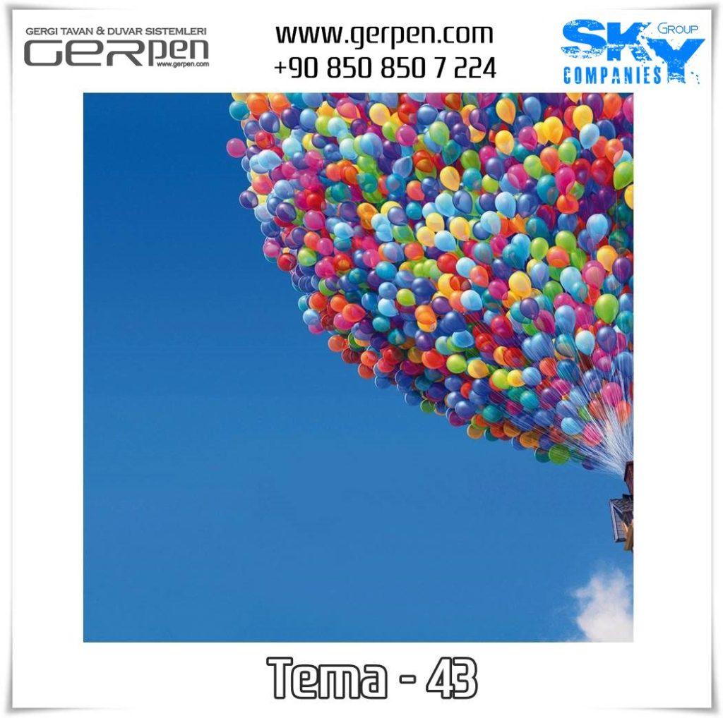 Gergi Tavan Balonlu Gökyüzü Tema 43